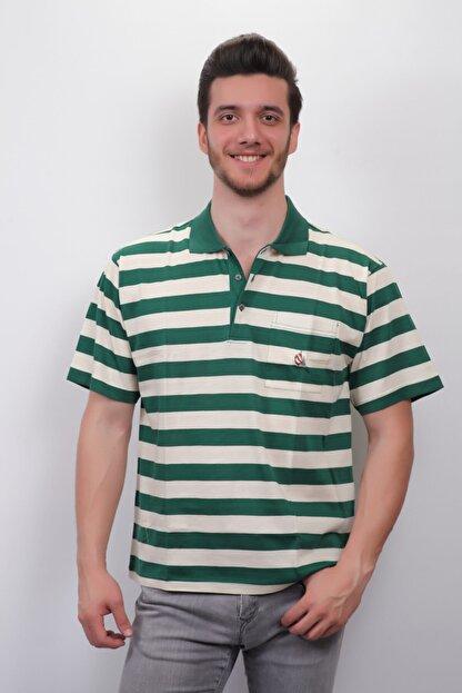 Junior Erkek Yeşil Çizgili Polo Yaka T-shirt  3001