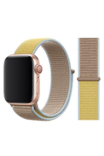 Zore Apple Watch 1 2 3 4 5 Serisi 42mm  Uyumlu Kordon Spor Loop Hasır Cırt Cırtlı Kayış