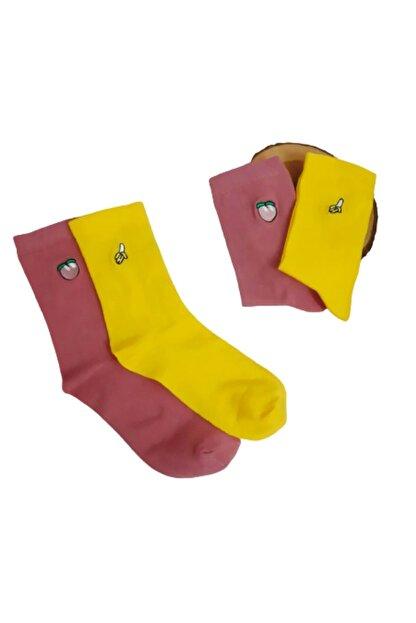 ULU SOCKS 2'li Meyve Nakış Işlemeli Çorap Muz Kayısı Figürlü