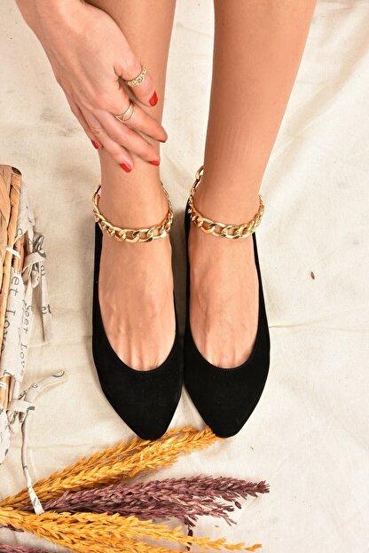 Fox Shoes Kadın Siyah Süet Zincirli  Babet K726096002