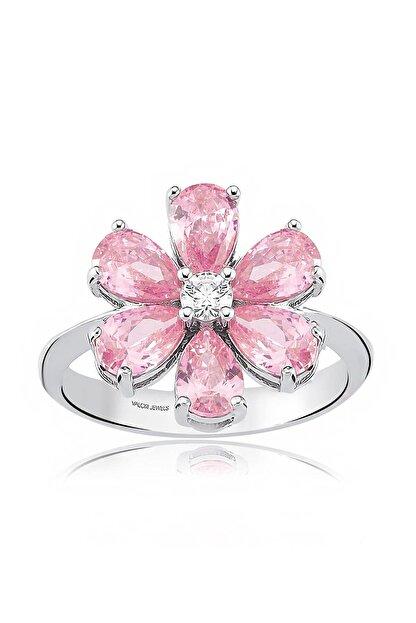 Valori Jewels 2 Karat Zirkon Pembe Damla Taşlı, Unutma Beni Çiçek Gümüş Yüzük