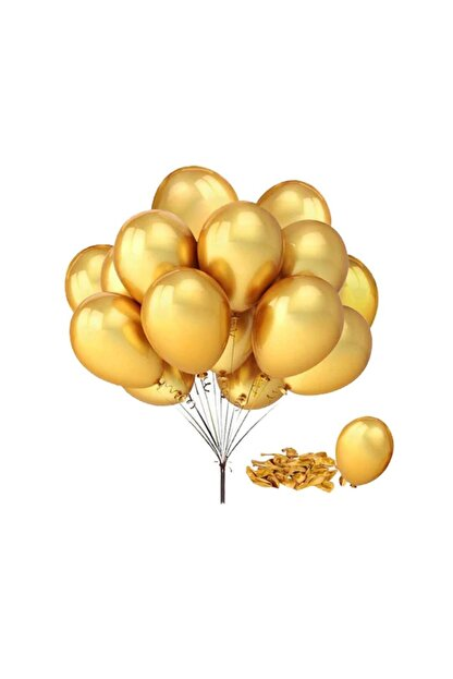 Outlet Deposu Metalik Gold Lateks Balon - 10 Adet