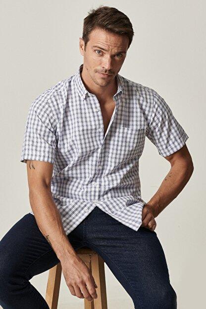 Altınyıldız Classics Erkek Beyaz-Mavi Regular Fit Kısa Kollu Gömlek