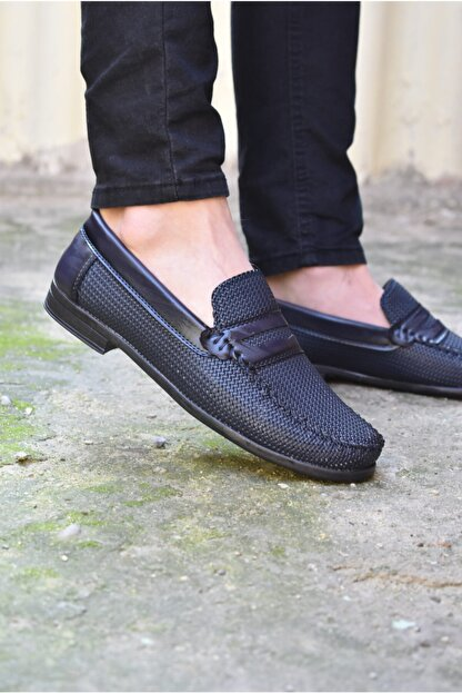 ALBİDÜNYA Erkek Lacivert Ortopedik Tabanlı Baskı Detay Modelli Günlük Ayakkabı