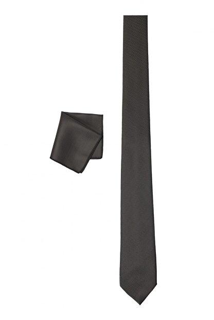 Altınyıldız Classics Erkek Siyah Nano Kravat-Mendil Set