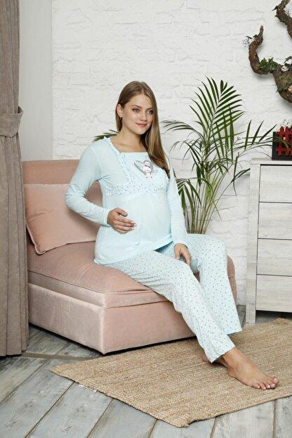 BOYRAZ Kadın Mavi Hamile Pijama Takımı Emzirmeli Uzun Kol Takım 7102