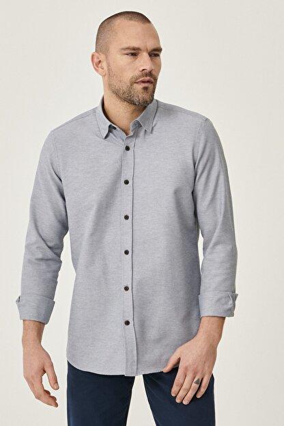 Altınyıldız Classics Erkek Gri Tailored Slim Fit Dar Kesim Düğmeli Yaka Oxford Gömlek