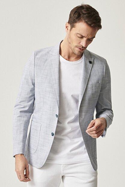 Altınyıldız Classics Erkek Lacivert Slim Fit Desenli Ceket