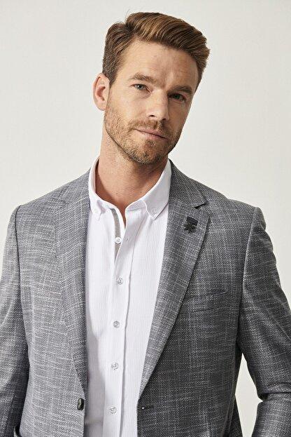 Altınyıldız Classics Erkek Koyu Gri Regular Fit Desenli Ceket
