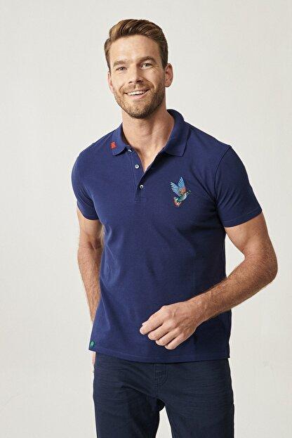 Altınyıldız Classics Erkek Lacivert Polo Yaka Cepsiz Slim Fit Dar Kesim %100 Koton Düz Tişört