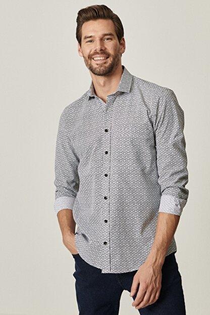 Altınyıldız Classics Erkek Siyah Tailored Slim Fit Dar Kesim Küçük İtalyan Yaka Baskılı Gömlek