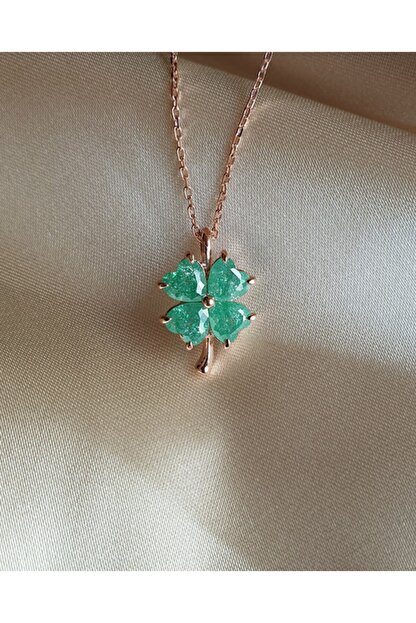 AME SOEUR 925 Ayar Gümüş Green Four Leaf Clover