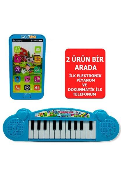 Medska Türkçe Müzikli Hayvan Sesli Dokunmatik Telefon Mavi Ve Piyano 22 Tuşlu Sesli Ilk Elektronik Piyano