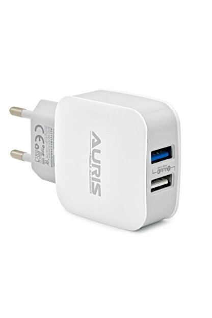 Auris Güvenlisepet 3.4 Amper Hızlı Şarj Başlığı Çift Usb Girişli 17 Watt Hızlı Şarj Başlık
