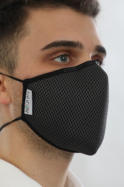 AntiCoV Prestige Boyun Lastikli GRİ AntiViral Kumaştan Üretilmiş Yıkanabilir Maske