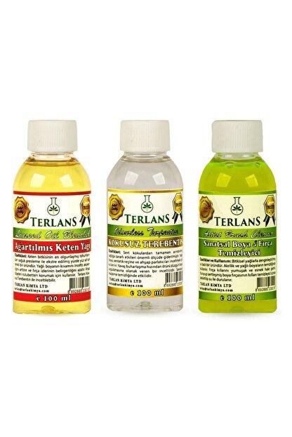 Terlans Yağlı Boya Seti Yardımcı Malzemeler 3 X 100 ml Kokusuz Terebentin Resim Yağı Ve Boya Tem.