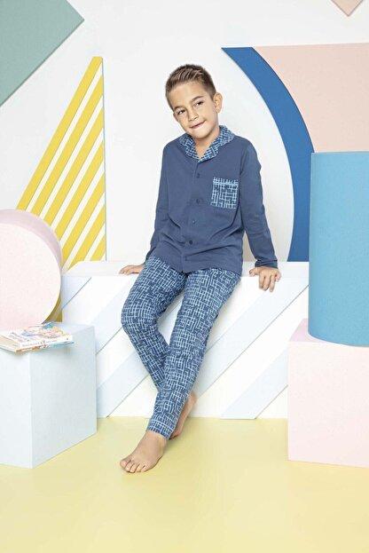 TURUNCU'S Erkek Çocuk Mavi Boydan Düğmeli Organik Pamuklu Garson Pijama Takımı