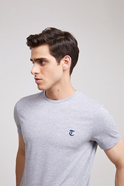 D'S Damat Erkek Gri Düz Twn Slim Fit T-shirt