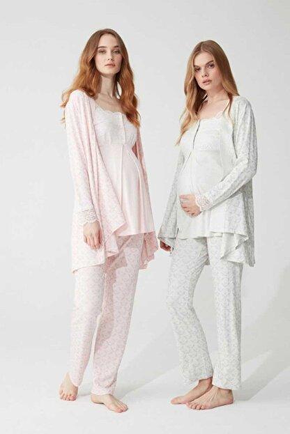 Feyza Pijama Kadın Lohusa 3'lü Pijama Takımı Dantelli 3 Düğmeli