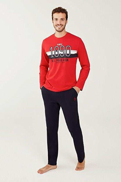 US Polo Assn Erkek Kırmızı Yuvarlak Yaka Pijama Takım 18245