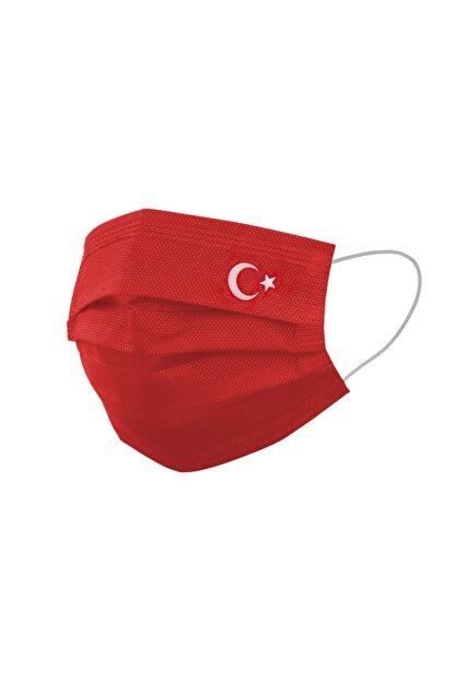 FCMASK Kırmızı Ayyıldız Tek Kullanımlık 3 Katlı Meltblown Filtre Cerrahi Koruyucu Yüz Maskesi 50 Adet