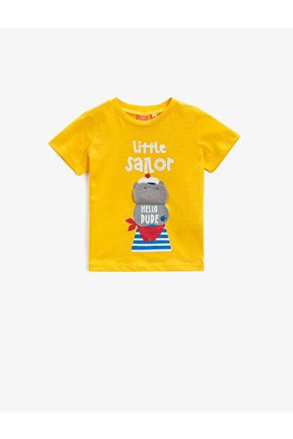 Koton Erkek Bebek Sarı Baskılı Yazılı Pamuklu T-Shirt