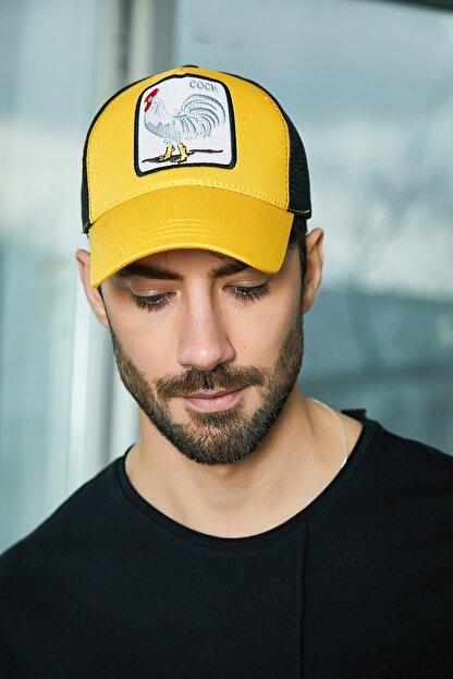 Sateen Men Erkek Sari Nakışlı Şapka