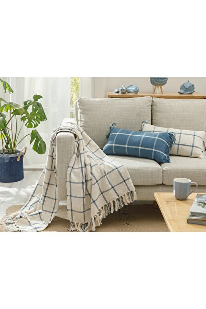 English Home Elegant Lines Pamuk Polyester Koltuk Şalı 130x170 Cm İndigo