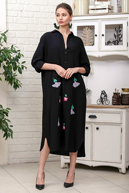 Chiccy Kadın Siyah Karanfil Nakışlı Sırt Detaylı Düğmeli Salaş Gömlek Elbise M10160000EL95923