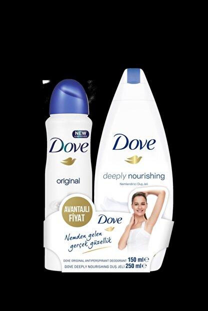 Dove Kadın Deodorant Sprey Original 150 Ml + Deeply Nourishing Duş Jeli 250 Ml