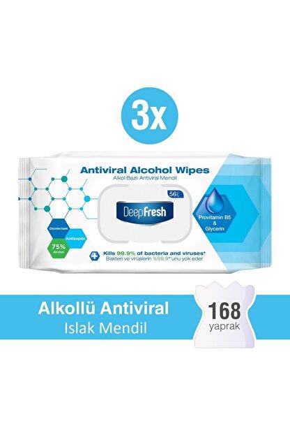 Deep Fresh Alkollü Antiviral Islak Mendil 3'lü Paket 168 Yaprak