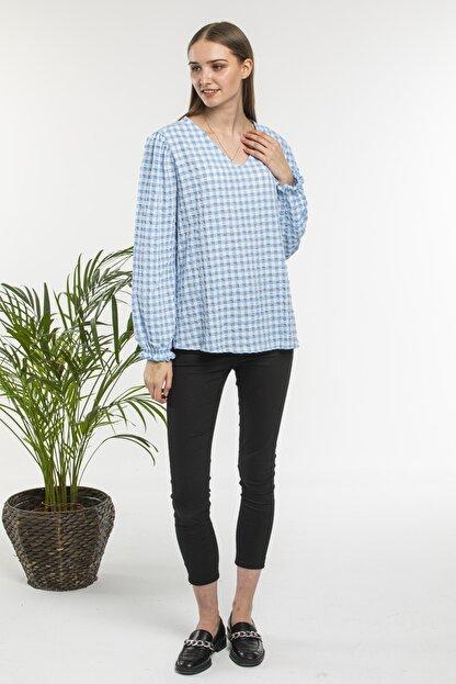 candybia Kadın Mavi V Yaka Ekose Desenli Bluz
