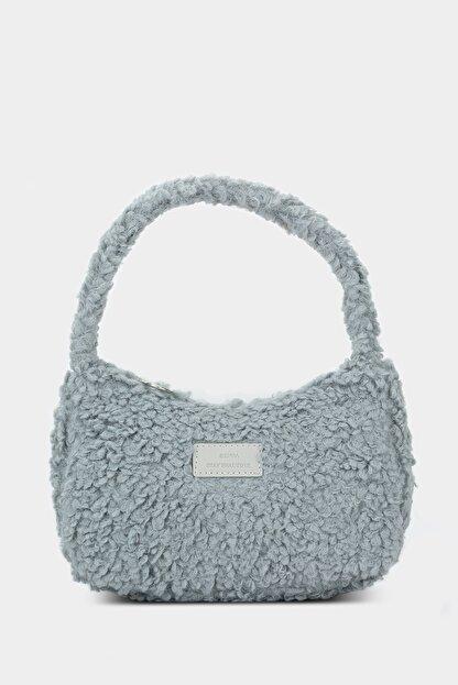 Housebags Kadın Gri Suni Kürklü Baguette Çanta 197