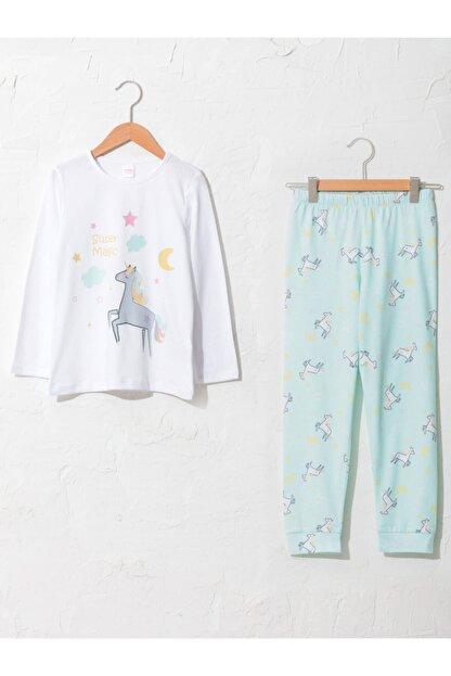 LC Waikiki Kız Çocuk Beyaz Desenli Pijama Takımı