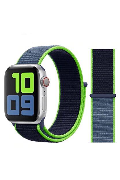 Zore Apple Watch 1 2 3 4 5 Serisi Uyumlu 42mm  Spor Loop Hasır Cırt Cırtlı Kayış
