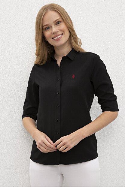 US Polo Assn Siyah Kadın Dokuma Gömlek
