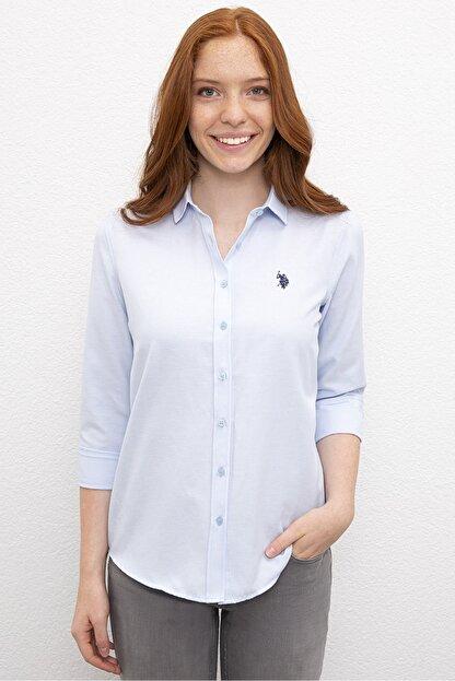 US Polo Assn Mavi Kadın Dokuma Gömlek