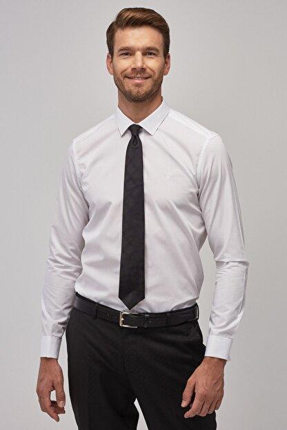 Altınyıldız Classics Erkek Beyaz Tailored Slim Fit Duble Manşet Gömlek