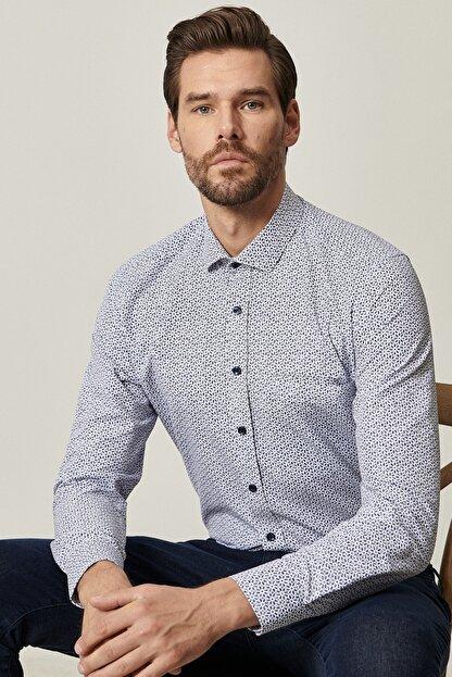 Altınyıldız Classics Erkek Lacivert Tailored Slim Fit Dar Kesim Küçük İtalyan Yaka Baskılı Gömlek