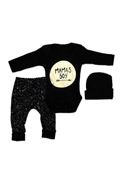 Kardelya Baby Erkek Bebek Siyah Şapkalı Mamas Boy 3 Lü Takım K894