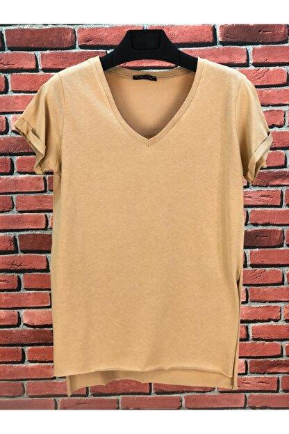 madammodabir Kadın Camel V Yaka Asimetrik Örme T-shirt