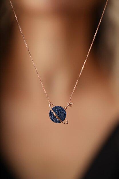 İzla Design Kadın Gezegen Yıldız Model Safir Taşlı Gümüş İtalyan Kolye