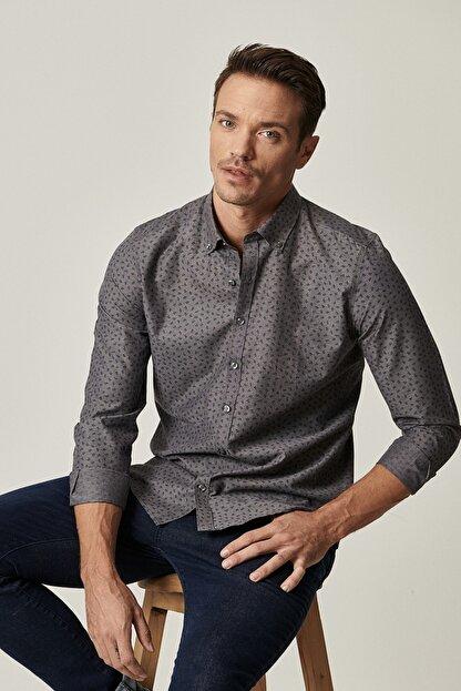 Altınyıldız Classics Erkek Antrasit Tailored Slim Fit Düğmeli Yaka Baskılı Gömlek