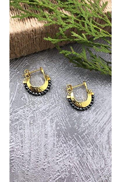 Joel Jewelry Hematit Taşlı Altın Kaplama Çanta Model 925 Ayar Gümüş Küpe