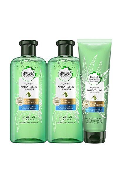 Herbal Essences Sülfatsız Aloe Bambu Şampuan 380 ml 2 Adet + Saç Kremi 275 ml