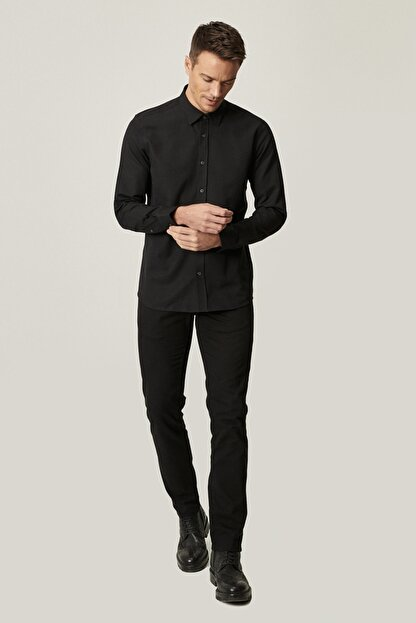 Altınyıldız Classics Erkek Siyah Kanvas Slim Fit Dar Kesim %100 Koton 5 Cep Pantolon