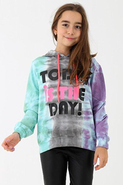 Enisena Kız Çocuk Mint Batik Yıkamalı Kapüşonlu Sweatshirt 9-14 Yaş