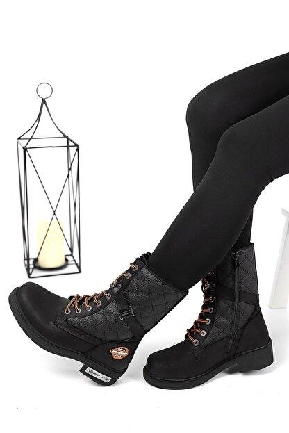 Hammer Jack 102 15945-z Kadın Hakiki Deri Bot Siyah