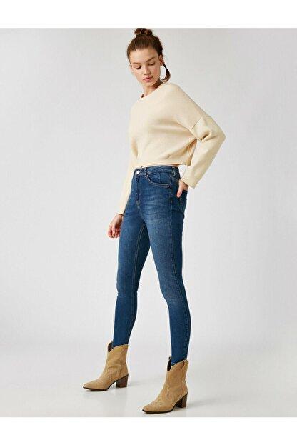 Koton Kadın Mavi Pamuklu Skinny Yüksek Bel Jeans