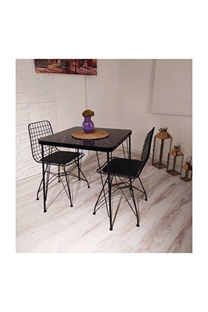 Avvio Defne 2 Kişilik Yemek Masası Takımı-mutfak Masası Takımı-siyah Mermer Desenli